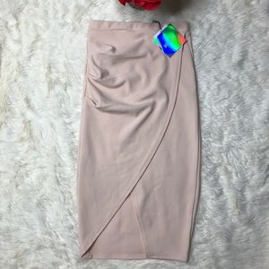 Missguided Tall Asymmetric Ruched Side Midi Skirt